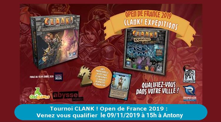 Venez vous qualifier pour l'Open de France 2019 : Tournoi CLANK ! chez GOUPIYA le 09/11/2019 à 15h sur ANTONY (92)